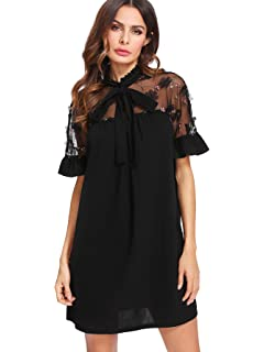 6cb12f0cc7c DIDK Women s Tunic Dress with Embroidered Floral Mesh Bishop Sleeve ...