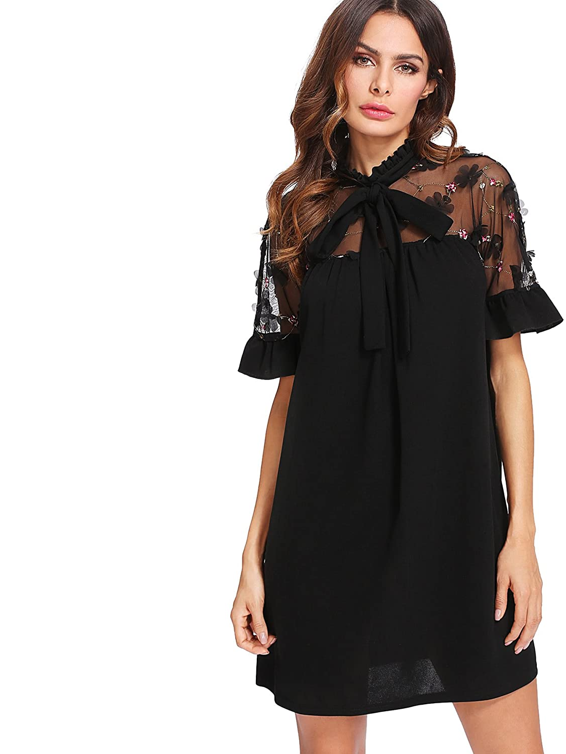 Didk Women S Elegant Floral Embroidered Mesh Bow Tie Neck Tunic Dress