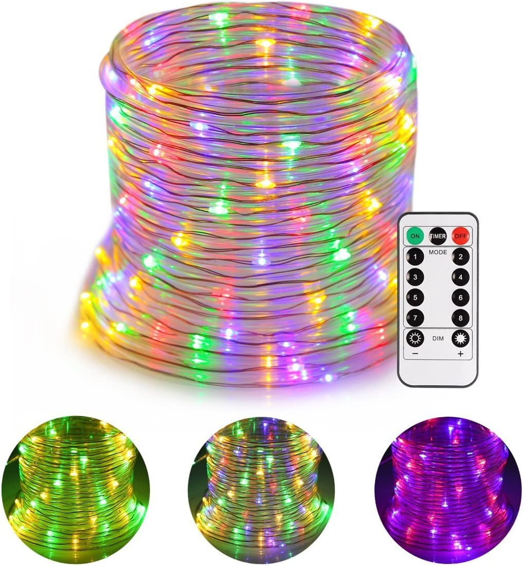 Greenclick LED Rope Lights Outdoor, 46Ft 120 LEDs Battery Operated String Lights Color Changing 8 Modes Dimmable Waterproof Fairy Lights for Christmas Garden Camping Party Decoration