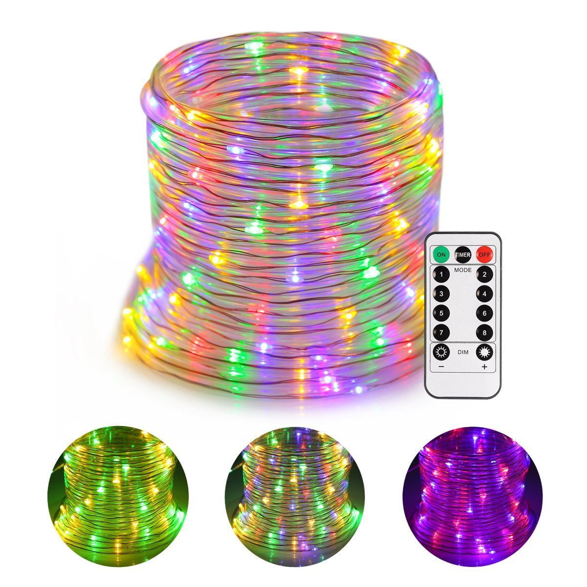 GreenClick LED Twinkle Rope Light Battery Operated 120 LEDs Color Changing Rope Lights with Romote Timer Waterproof 45Ft 8 Mode String Lights for Patio, Yard, Parties, Wedding by GreenClick