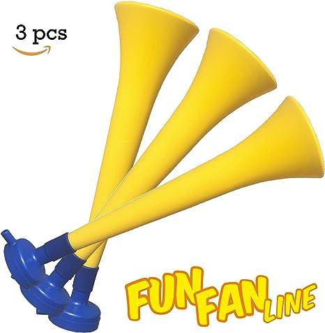 FUN FAN LINE - Pack x3 Trompetas Vuvuzela de plástico. Accesorio para fútbol y Celebraciones Deportivas. Bocina de Aire ruidosa para la animación. (Suecia): Amazon.es: Deportes y aire libre