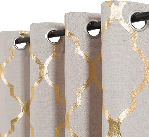 Vangao Linen Textured Curtians Foil Print Morrocan Tile Quatrefoil Room Darkning Drapes 95 Inches Length for Bedroom and Living Room,2 Panels,Gold On Flax
