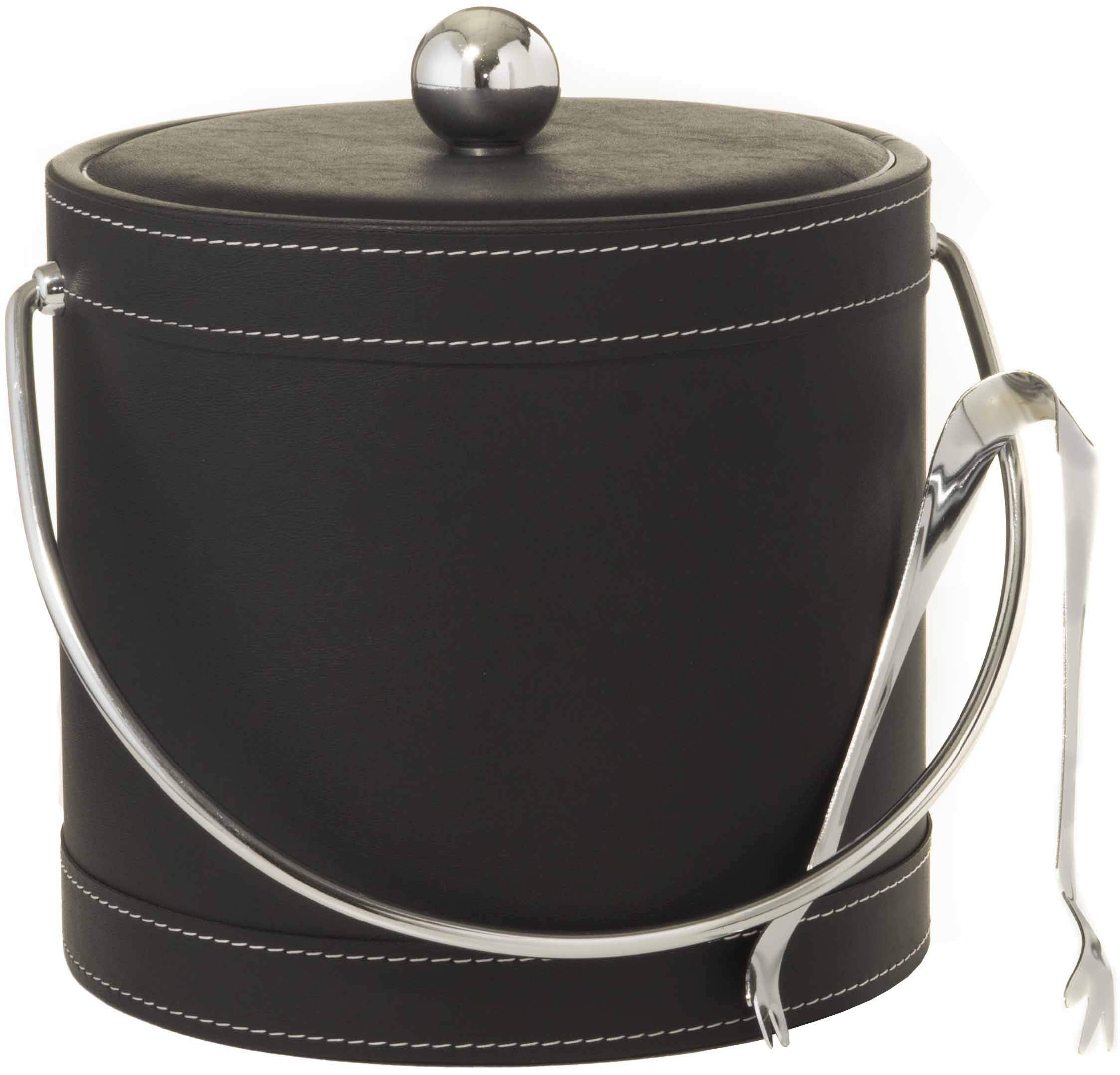 Hand Made In USA Black Leatherette With White Stitching Double Walled 3-Quart Insulated Ice Bucket With Bonus Ice Tongs by Mr. Ice Bucket By Stephanie Imports