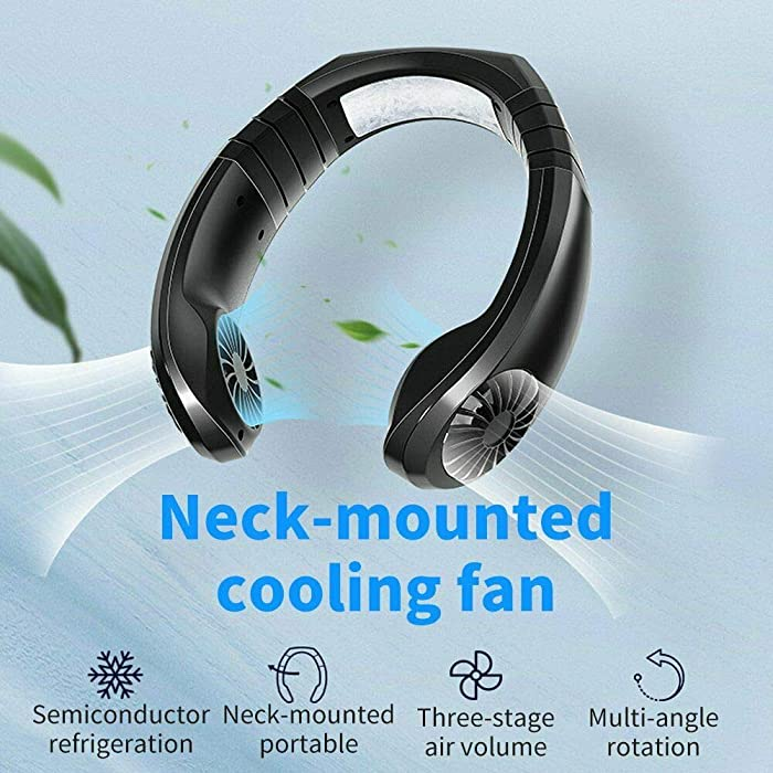 Hanging Neck Fan, Air Cooler USB Micro Portable 2 in 1 Air Cooler Mini Electric Air Conditioner Scarf Cooling Portable Hanging Neck Fan,Air Cooler, USB Hanging Neck Air Conditioner(Black)
