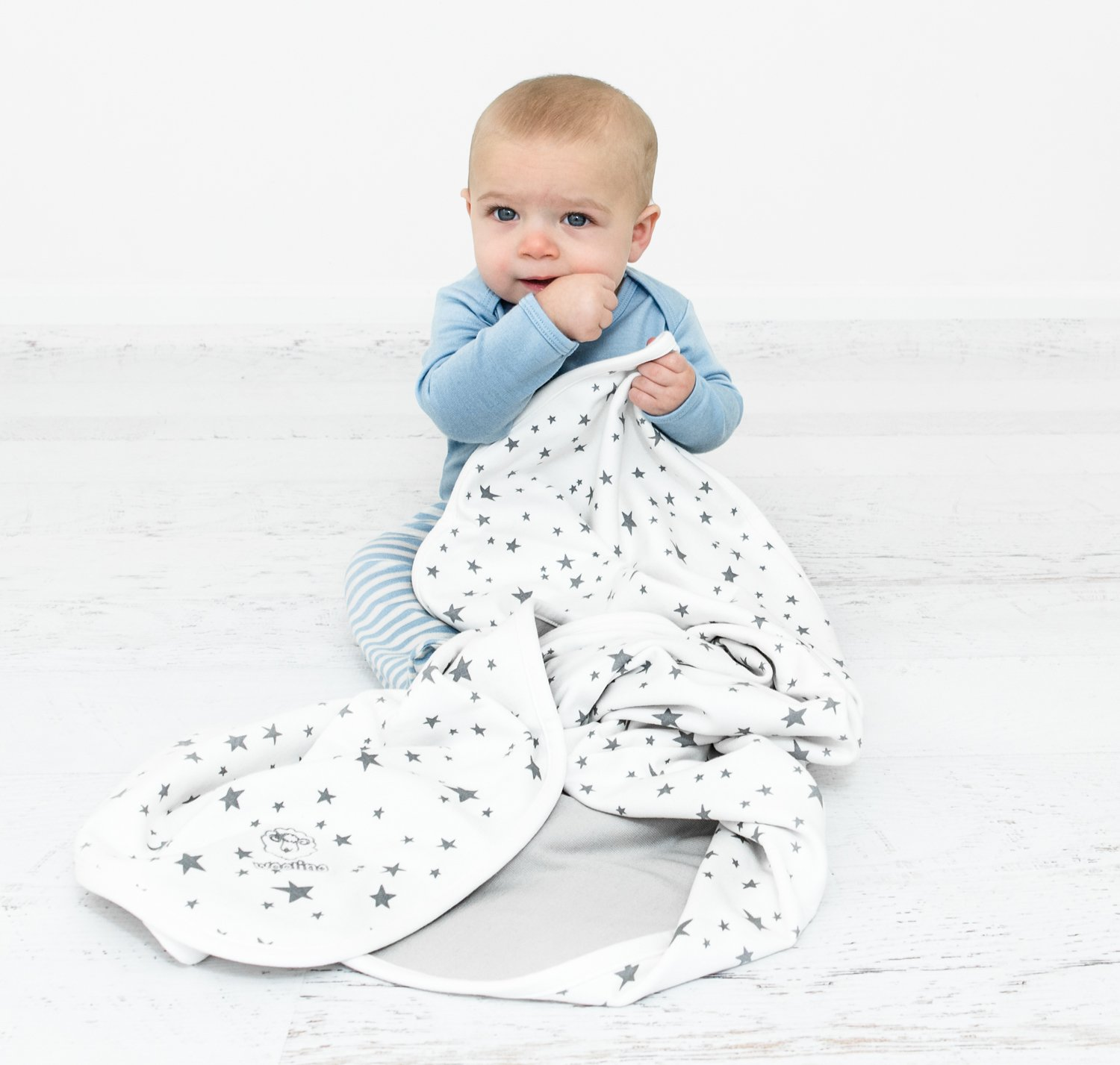 Baby Blanket for Crib or Stroller, Merino Wool Blanket, 40'' x 31.5'', Stars by Woolino (Image #3)