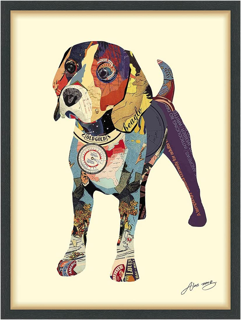 Empire Art Direct Beagle Dimensional Collage Handmade by Alex Zeng Framed Graphic Dog Wall Art 25 x 33 x 1.4 , Ready to Hang 1