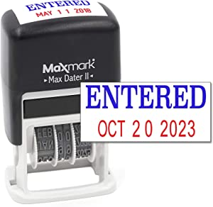 MaxMark Self-Inking Rubber Date Office Stamp with Entered Phrase Blue Ink & Date RED Ink (Max Dater II), 12-Year Band