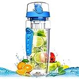 Bouteille Infusion de Fruits 900ml OMorc Bouteille Sport avec Infuseur à Fruits Bouteille d'eau Infusion Jus Gourde Infuser Fruit avec Couvercle Anti-Fuite - Bleu