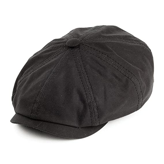 Stetson Hats Hatteras Waxed Cotton Newsboy Cap Black Co Uk Clothing 044a2ba2f3fd