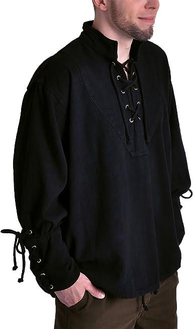 Elbenwald Medieval – Camisa para Hombre, algodón, Negra schnürbar Negro XXXL: Amazon.es: Ropa y accesorios