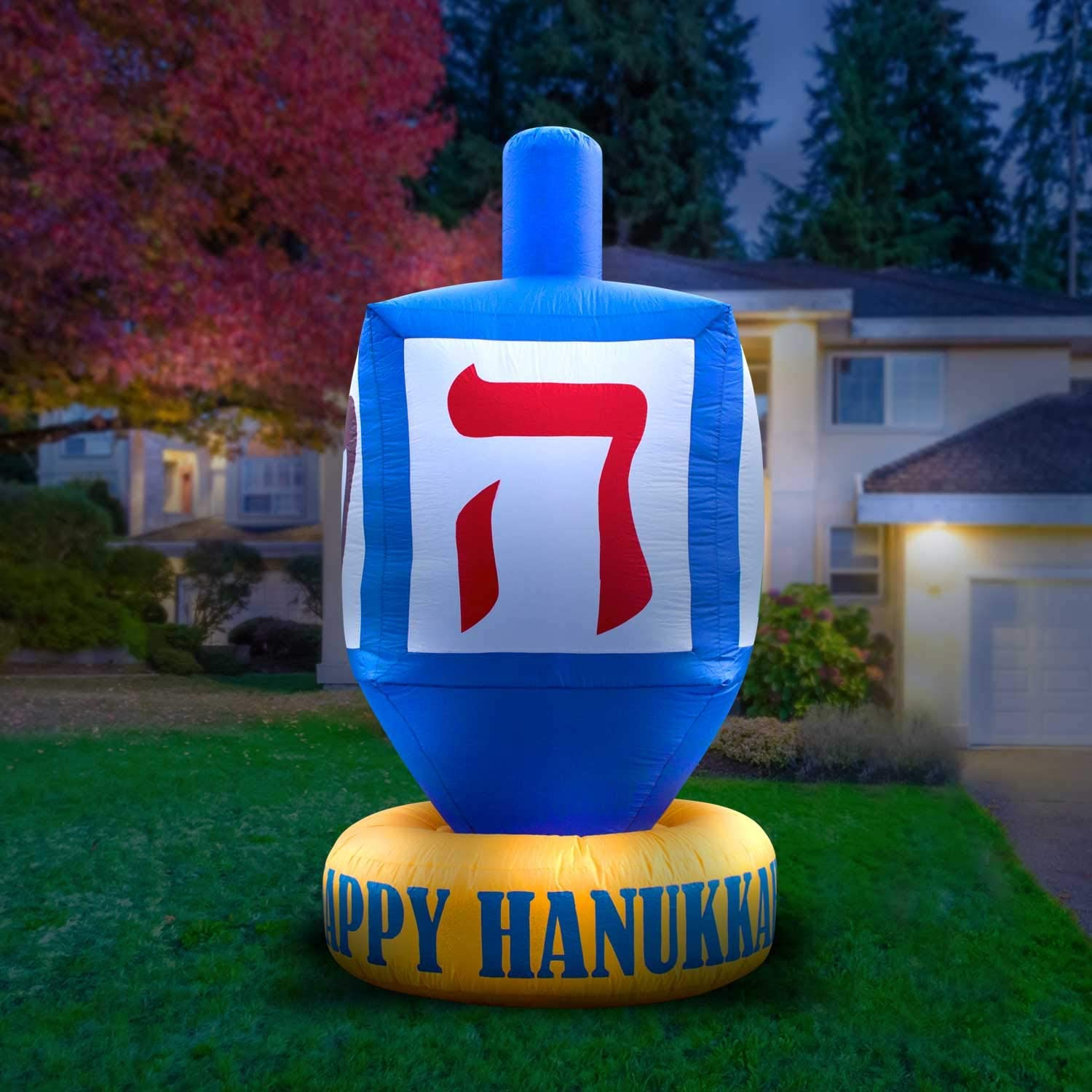 Holidayana Hanukkah Dreidel Inflatable Decoration - 8ft Giant Hanukkah Dreidel Inflatable Yard Decor with Built-in Bulbs, Tie-Down Points, and Powerful Built in Fan