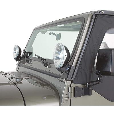RAMPAGE PRODUCTS 7609 Black Windshield Hinge Light Bracket for 1976-1995 Jeep CJ & Wrangler YJ - Pair: Automotive