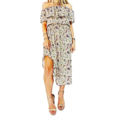 &harmony Women's On or Off The Shoulder Day Dress - Bohemian Ruffle Dress at Women's Clothing store