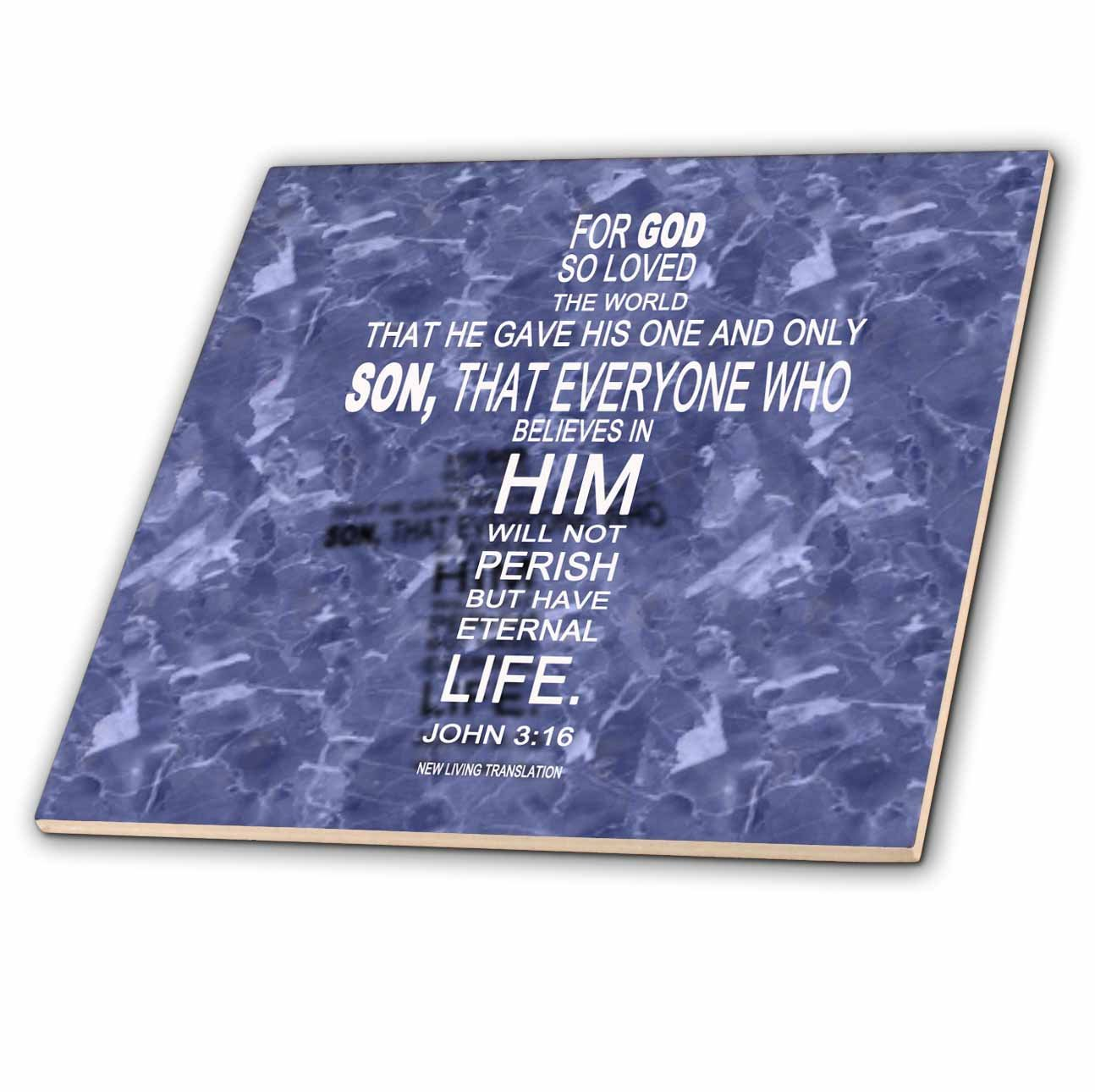 6-Inch 3dRose ct/_29088/_2 John 3 16 Bible Verse in The Form of a Cross Reflected on Blue Grey Granite-Ceramic Tile