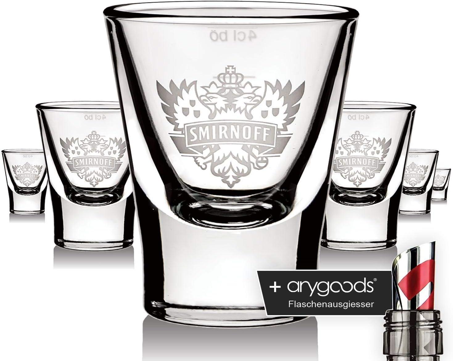anygoods Flaschenausgiesser 6 x Smirnoff Glas Gl/äser Vodka Shotglas Adler Logo Edition Schnapsglas NEU