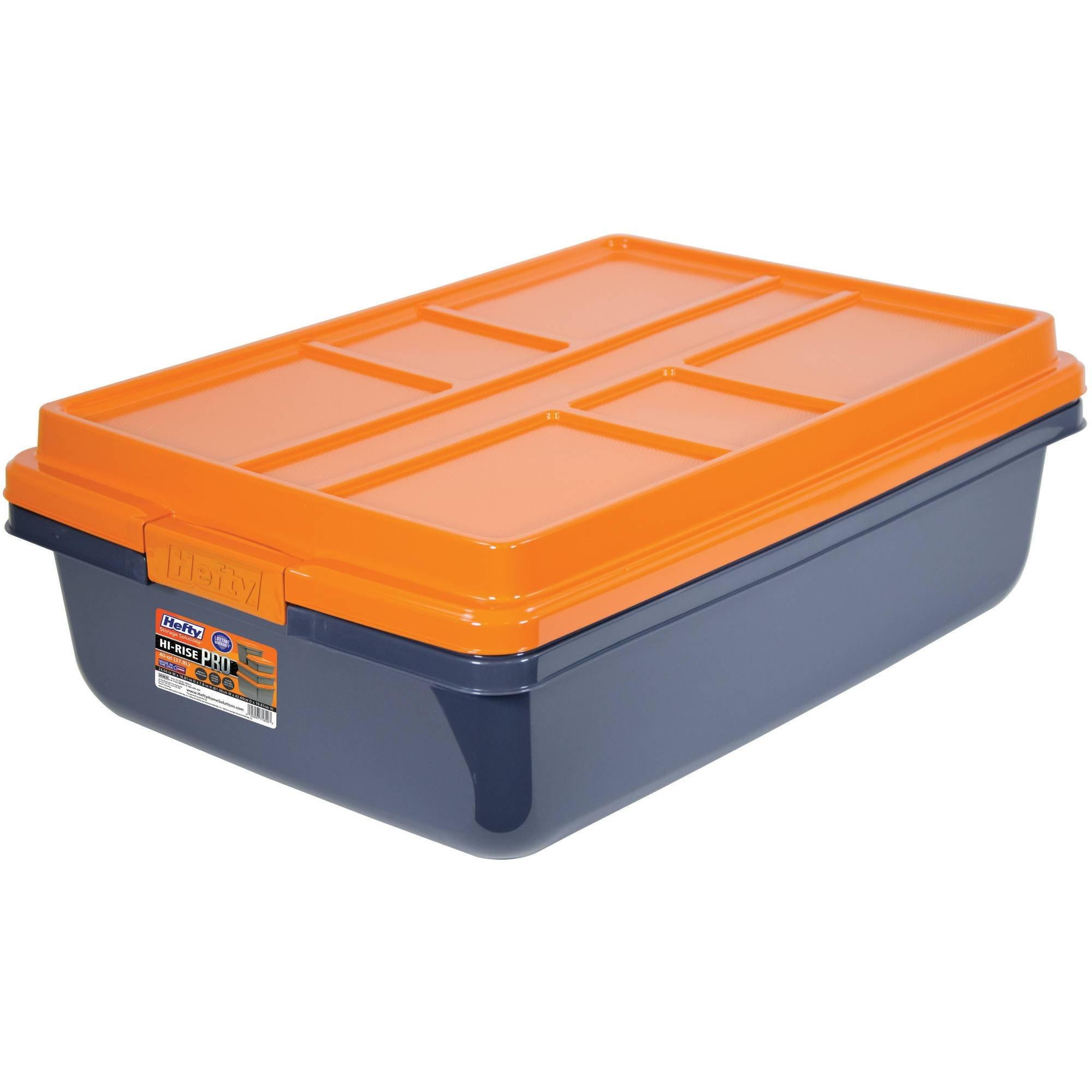 I Love Kay Hefty HI-RISE PRO Heavy Duty Storage Bins, 40 Qt. Latch Storage Box, Orange/Gray
