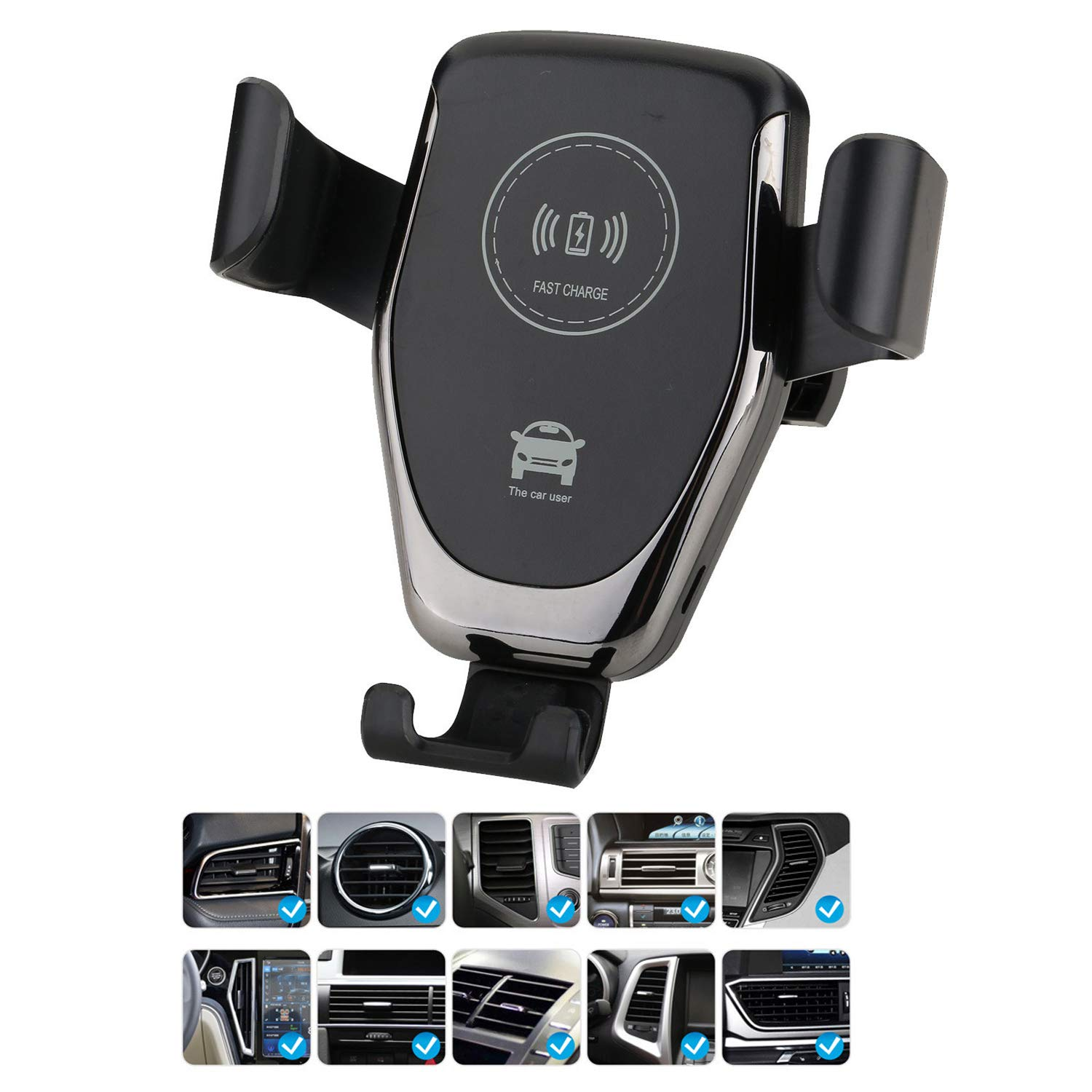 Sysmarts Qi Wireless Car Charger 10W Quick Charger for Samsung Galaxy S9//S9+//S8//S8+//S7//Note 8//LG V30 7.5W for Apple iPhone X//8//8 Plus Windshield//Air Vent 2-in-1 Mount Stand