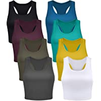 Geyoga 8 Pieces Basic Crop Tank Tops Sleeveless Racerback Crop Sport Cotton Top for Women