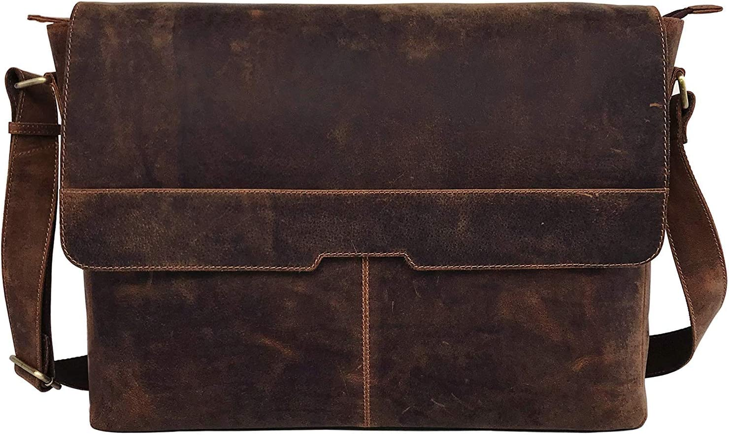 Berliner Sac de Travail en Cuir Style Vintage avec 18 Compartiments pour Ordinateur Portable Marron Taille XXL