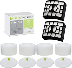 GreenVacShop Replacement Filter Set for Shark DuoClean Rotator Lift-Away Speed Zero-M Upright Vacuum NV601, NV611, NV770, NV771, UV700, XFF600 XHF600 (4 Foam + 4 Felt + 2 HEPA Filters Kit)