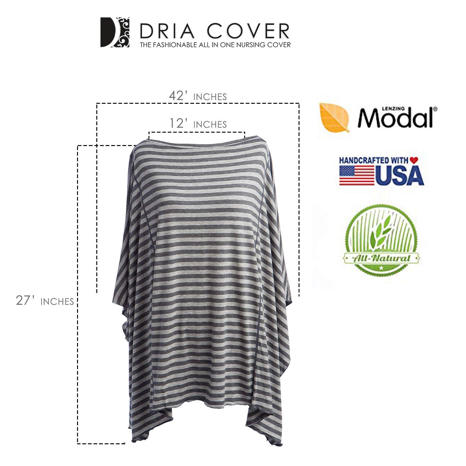 Fashionable Nursing Covers by DRIA - 'The All-In-One, Stroller Cover, Car Seat Cover' - Made in USA from Premium Four Way Stretch and Breathable Modal Fabric (Oslo Style: Grey Stripe) by DRIA Cover (Image #3)