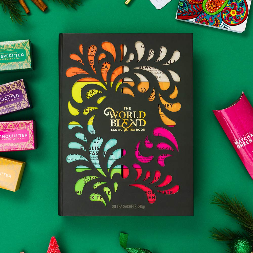 Thoughtfully Gifts, Tea Story: A Tea Lover's Gift Set, 8 Different Tea Flavors, Including English Breakfast Black Tea, Lemon Honey Green Tea, French Vanilla Black Tea, and More in a Beautiful Book