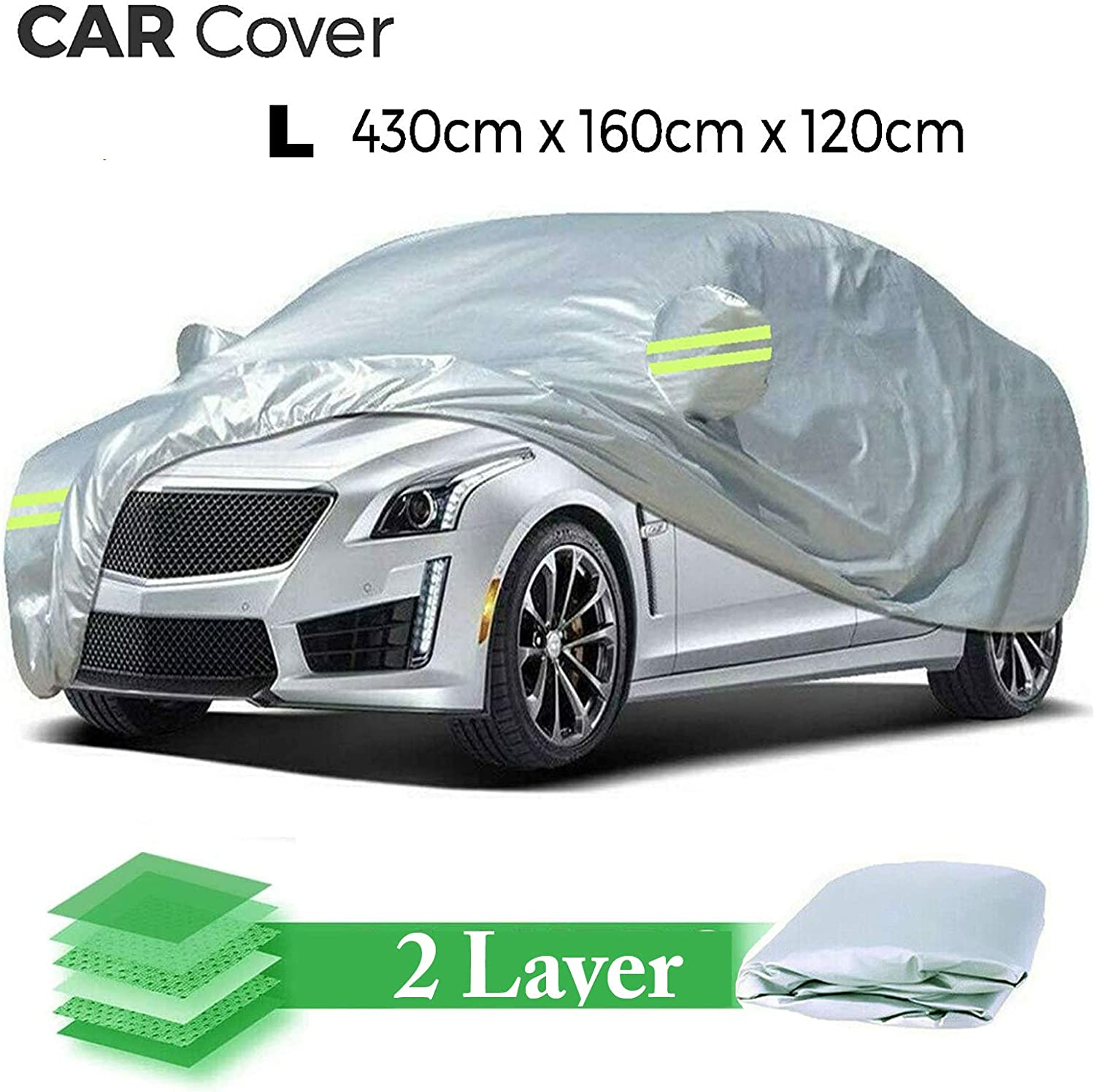 Car Cover Waterproof Rain Dust Sun UV All Weather Waterproof Breathable Protection Seat 2 Layer Cotton Covers for Automobiles Indoor Outdoor Heavy Duty Full Car Cover With Carry Bag