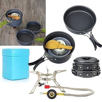F. Dorla plegable Camping estufa de gas + 8 piezas al aire libre Camping cocina de senderismo mochileros cocinar Picnic Tazón Pot Pan Set: Amazon.es: Jardín