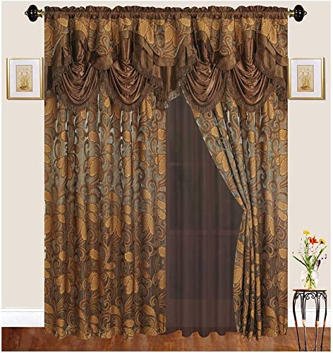 Bedding Haus Window Drape Set 2 Separate Panels , 63 Inch Length, Panels with Attached Valance, Sheer Backing, Short Traditional Victorian Floral Curtains for Living Room, 63 048, Coffee Gold