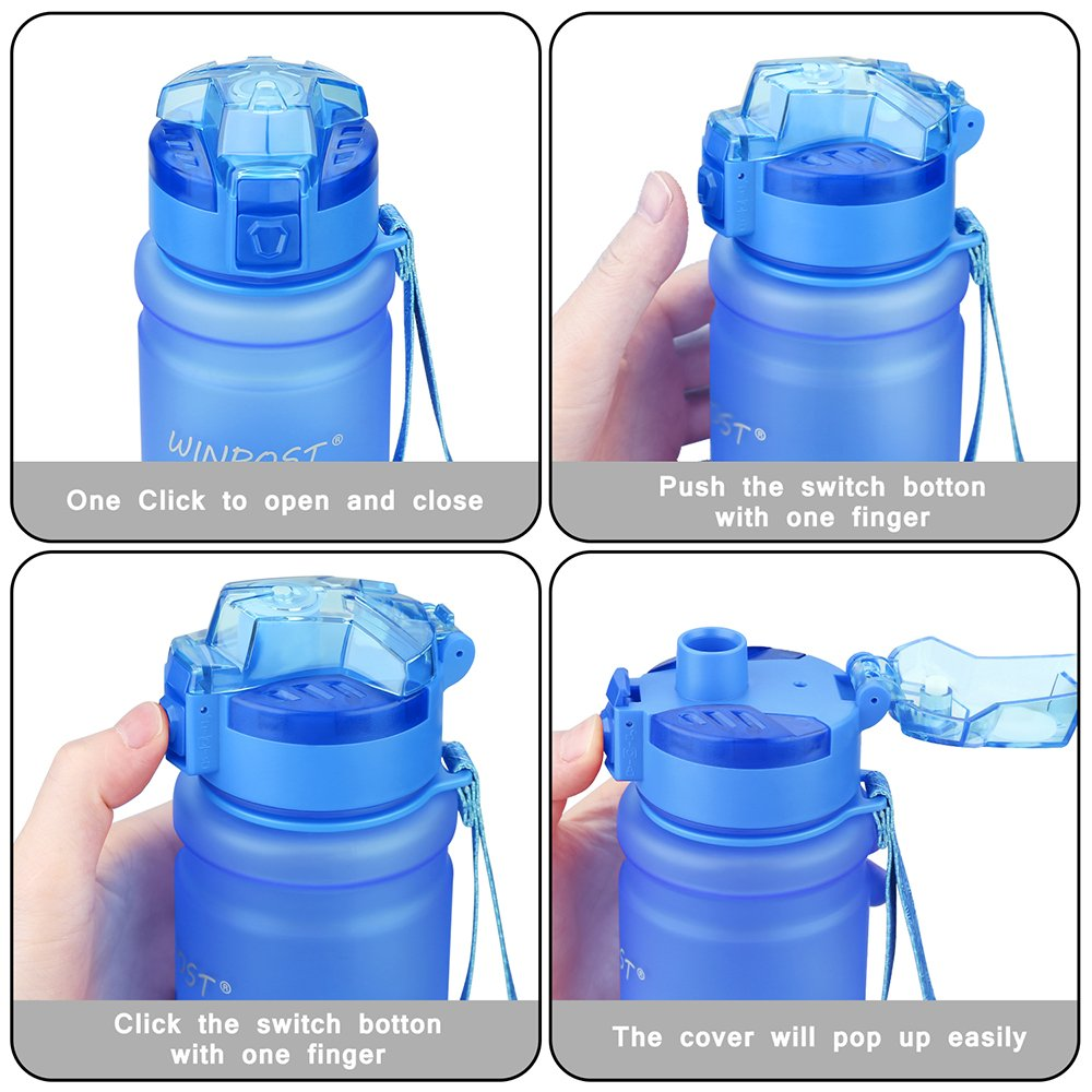 Botella de agua deportiva, 500ml & 700ml y 1000ml-BPA Botella ecológica de plástico Tritan con filtro, tapa abatible, se abre con 1 clic, reutilizable con ...