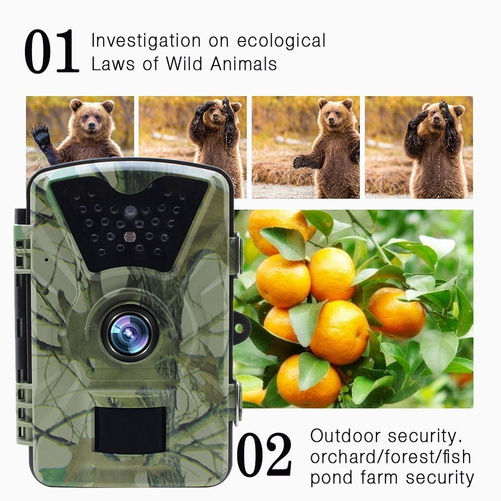 Lixada HD Wildlife Trail Camera Trap 12MP Infrared Cam with Night Vision, 120°Wide Angle Motion Activated 2.4in LCD Display for Outdoor Nature Garden Home Security Surveillance by Lixada (Image #5)