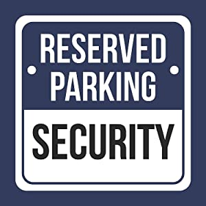 Reserved Parking Security Print Blue, White and Black Notice Parking Metal Square Signs - Single Sign, 12x12