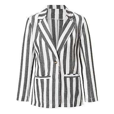 Dtuta Veste Courte à Manches Longues Costume Coupe Slim VêTements à Rayures Blouson  Femme Casual Chic 9ef367d8ae77