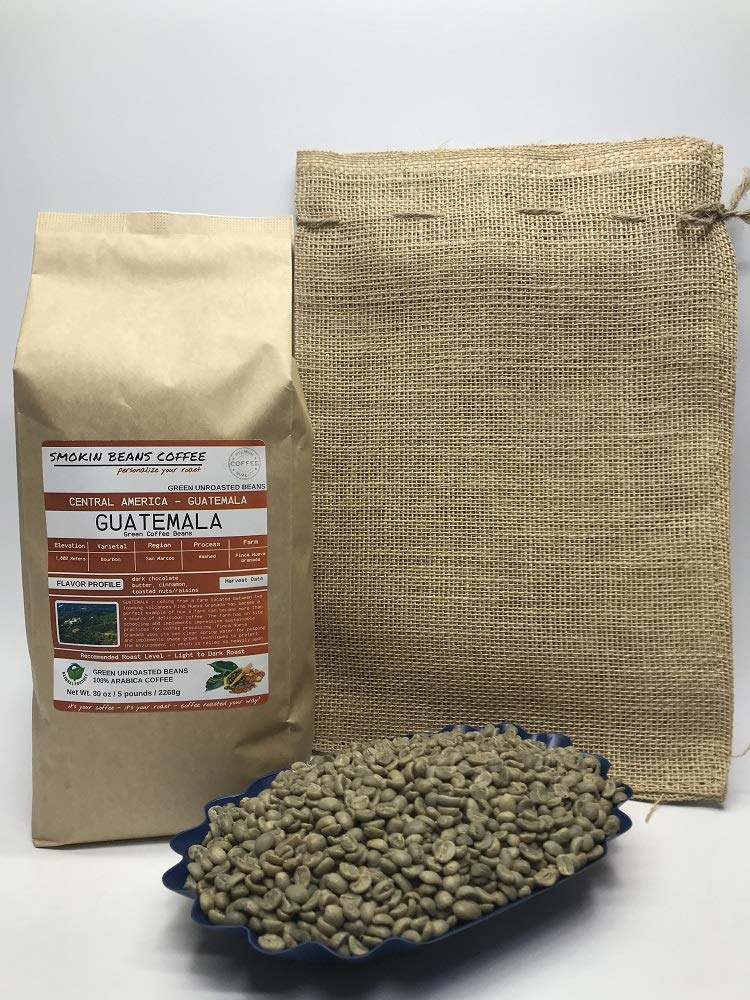 5 Pounds - Central American - Guatemala - Unroasted Arabica Green Coffee Beans - Grown in San Marcos Region - Altitude 1800M - Drying/Milling Process Washed - Finca Nueva Granada - Includes Burlap Bag by Smokin Beans