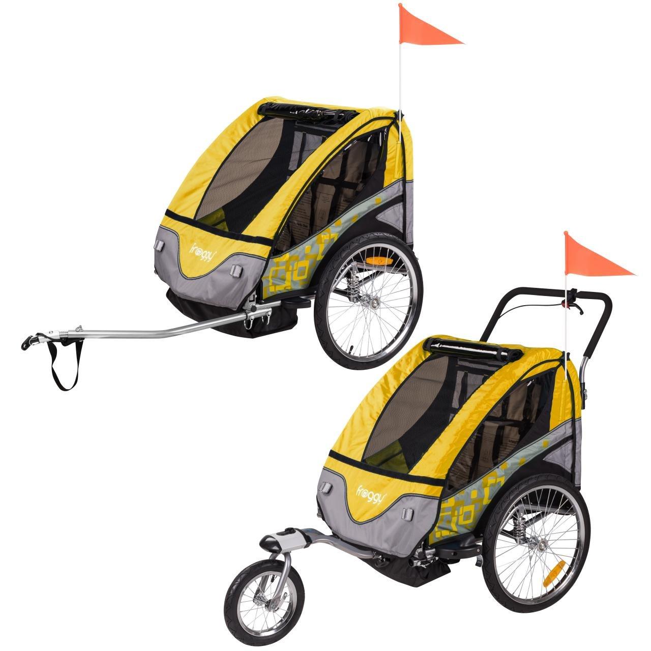 Design Tangerine FROGGY Kinder Fahrradanh/änger 360/° Drehbar mit Federung 2in1 Anh/änger f/ür 1 bis 2 Kinder 5-Punkt Sicherheitsgurt Joggerfunktion