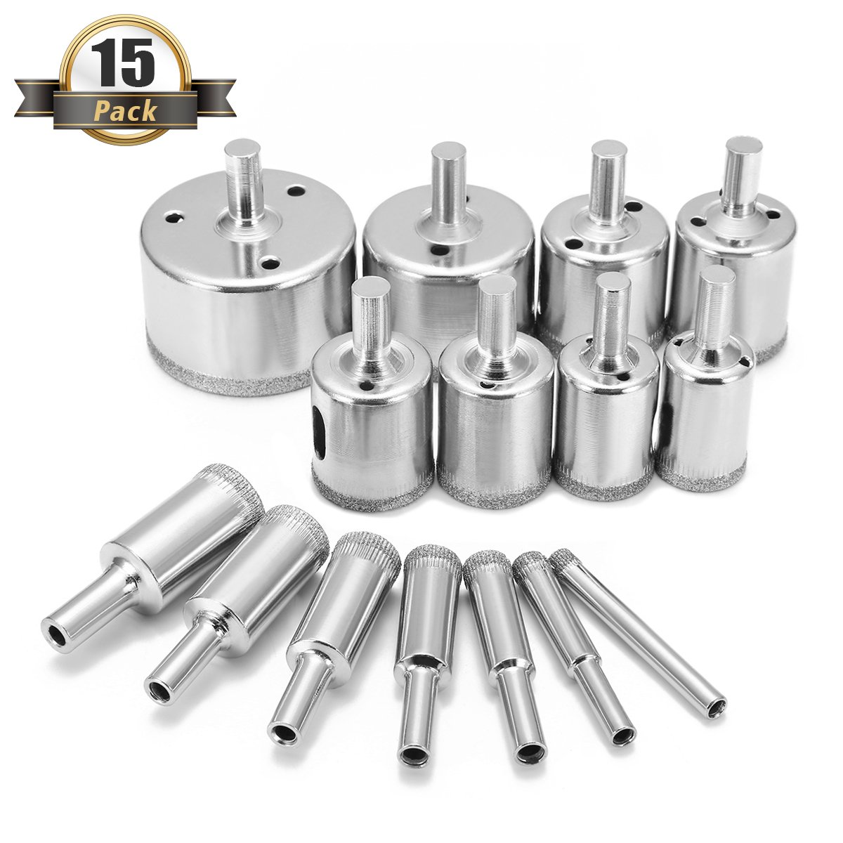 Tile Hole Saw, Drillpro 15 Pcs Diamond Hole Saw Remover Tools for Glass, Porcelain, Ceramic, Granite Stone Drill Bits 6-50mm