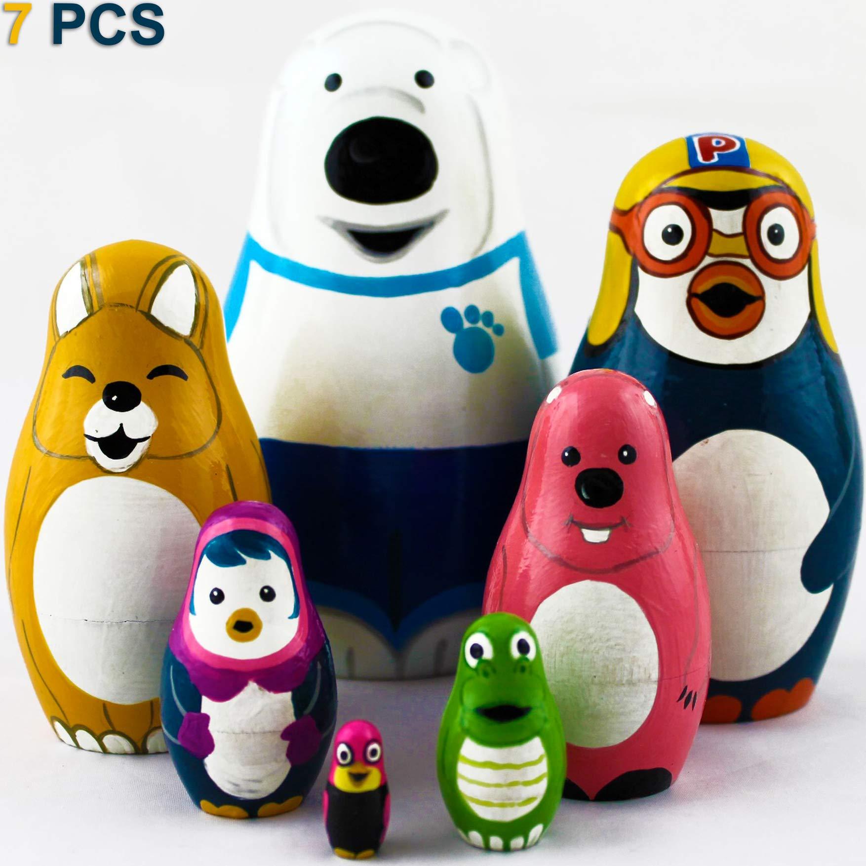 MATRYOSHKA&HANDICRAFT Russian Nesting Dolls Cartoon Characters Pororo The Penguin 7 pcs Wooden Toys by MATRYOSHKA&HANDICRAFT