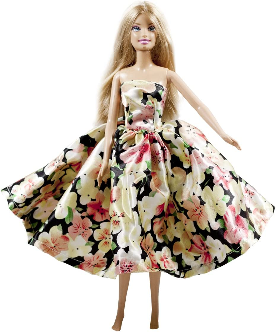Green Evening Gown with Little Pink Flowers Made to Fit Barbie Doll