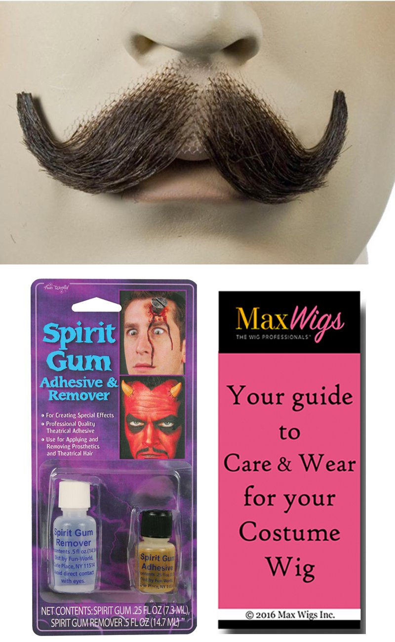 M10 Small English Mustache Color Brown - Lacey Wigs Human Hair Gentleman Victorian Downton Abbey Lace Backed Hand Made Facial Bundle w/Spirit Gum and Remover, MaxWigs Costume Wig Care Guide by Lacey Morris