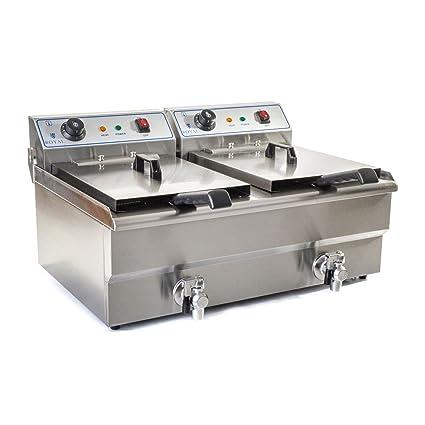 Royal Catering Freidora Eléctrica Doble Para Hostelería RCEF-16DTH (Potencia: 2 x 6.000