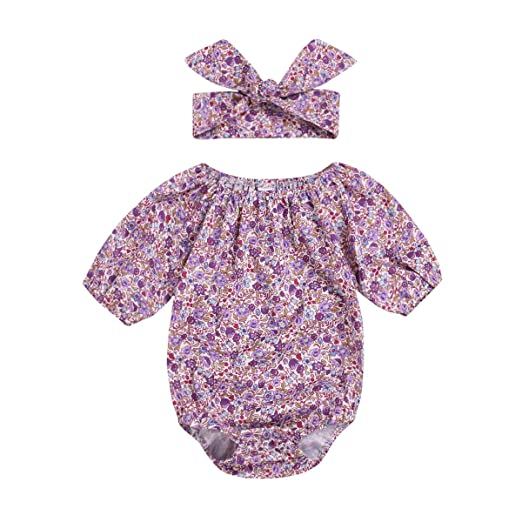 aecbbeb874d Newborn Infant Baby Girls Summer Romper Outfit Off-Shoulder Floral Print Jumpsuit  Bodysuit Short Clothes