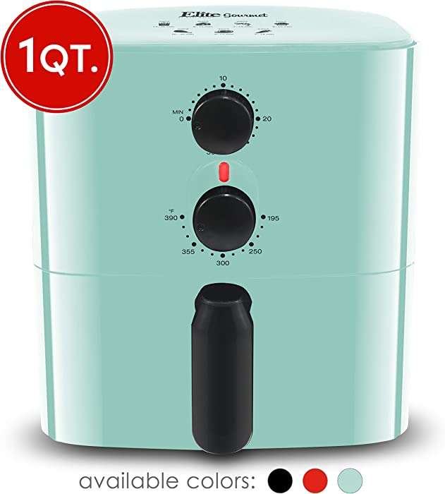 Maxi-Matic Elite Gourmet EAF-3218BL Personal Compact Space Saving Electric Hot Air Fryer Oil-Less Healthy Cooker, Timer & Temperature Controls, PFOA/PTFE Free, 700-Watts with Recipes, 1 Quart, Mint