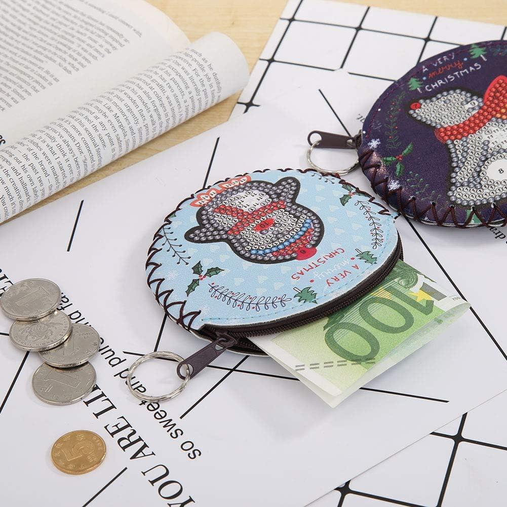 Porte-Cartes Prosperveil Mini Porte-Monnaie Porte-Monnaie Fermeture /éclair Porte-Monnaie Filles et Femmes Breloques pour Enfants kit de Broderie Diamant en Cuir Porte-cl/és