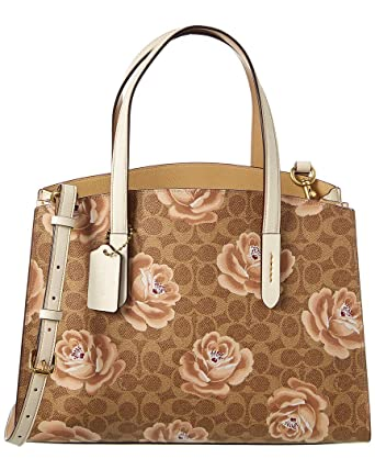 3af7fc054ca346 Amazon.com: Coach Charlie Signature Rose Print Leather Carryall Tote:  Clothing