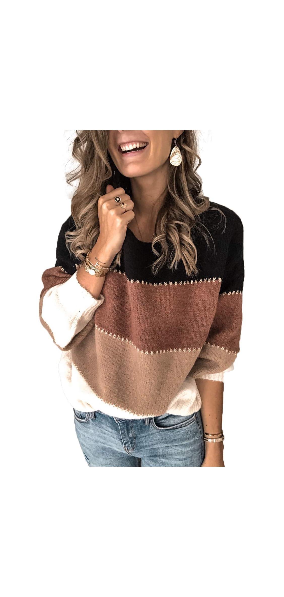 Color Block Sweater For Women Striped Colorblock Ballon