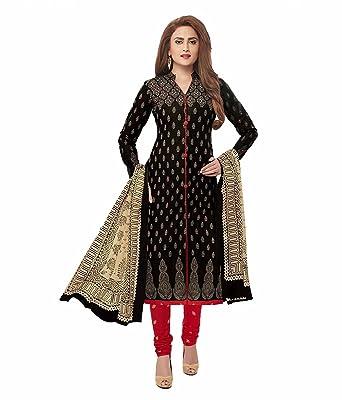 2a93d09caf Crazy Women's Cotton Unstitched Salwar Kameez Dress Material (Black ...