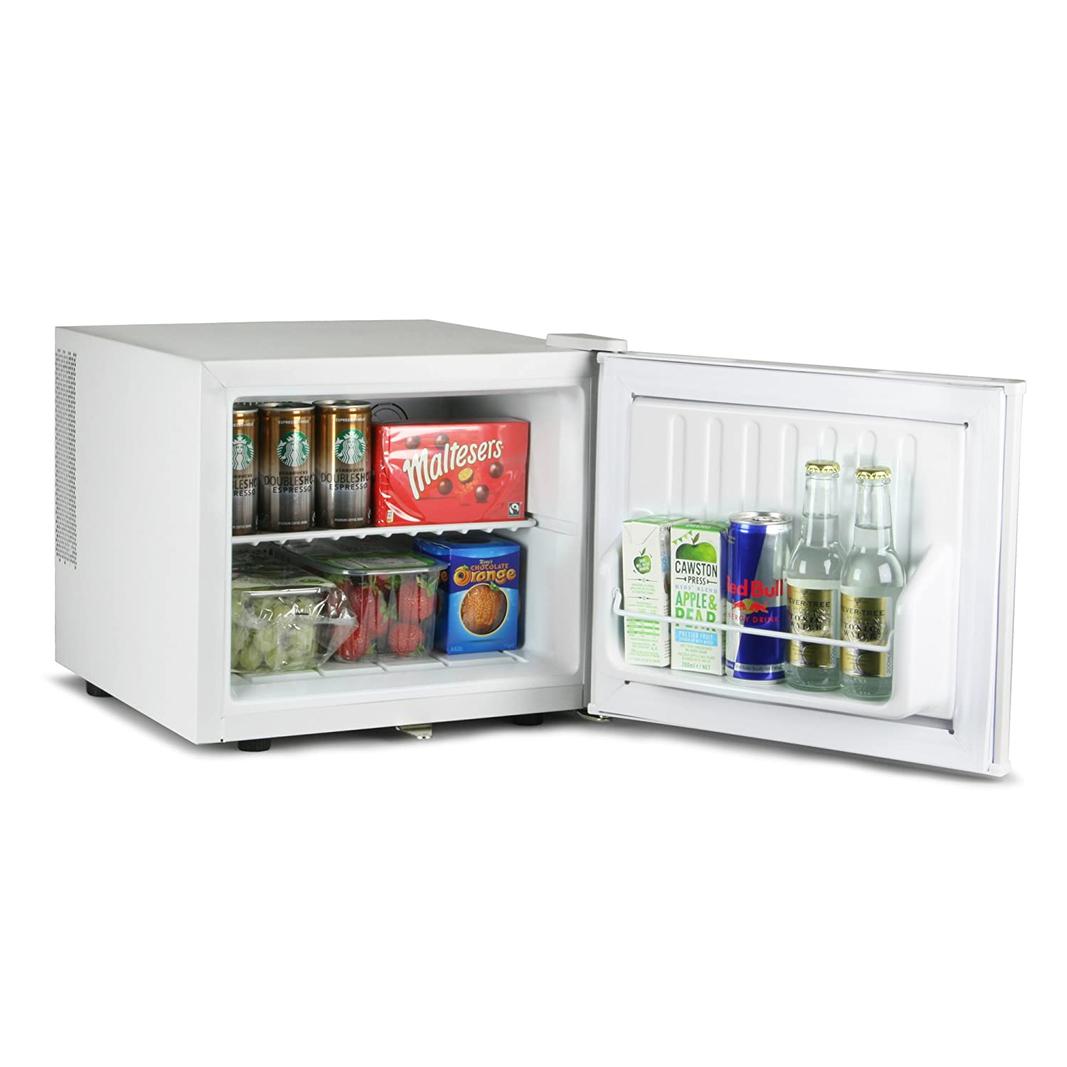 bar@drinkstuff ChillQuiet Mini Fridge 17ltr White - Lockable - Quiet Running Table Top Mini Bar [Energy Class B]