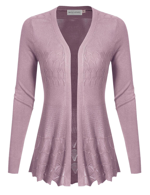 MAYSIX APPAREL Long Sleeve Crochet Knit Sweater Open Front Cardigan For Women (S-3XL)