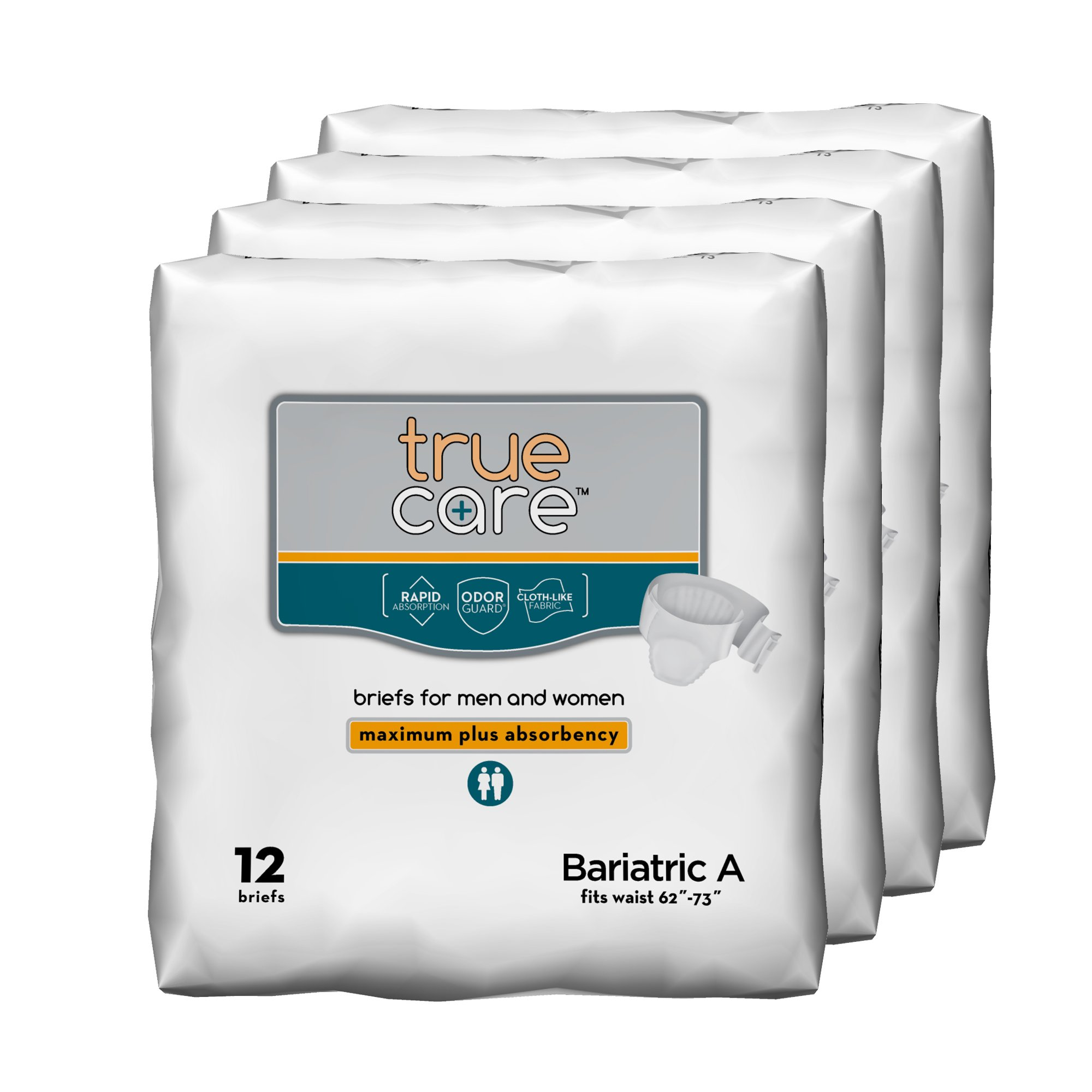 True Care Ultimate Absorbency Bariatric Incontinence Briefs, Size A, 48 Count