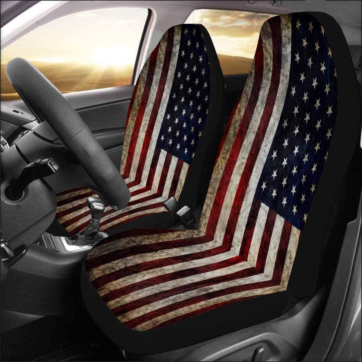 INTERESTPRINT Auto Seat Covers Full Set of 2, Universal fit for Vehicles, Sedan and Jeep